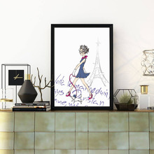 Fashion Paris Girl Illustration Watercolor Painting On Stretched Canvas Eiffel Tower Wall Artwork Poster Decorative Art Unframed