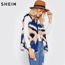 SHEIN Colorful Faux Fur Vest Autumn Winter Vests for Women Multicolor Collarless Vest Coat Woman's Fall Outerwear(China)