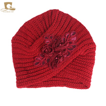 Hot 2017 new Women's Knitted Beanie Headband Crochet Headwrap Winter Warm Turban Beanie With Sequined Flower hair accessories(China)