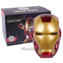 High Quality Iron Man Helmet Ring Sensor Switch Tony Stark Cosplay Mask with LED Light Collection Model For Children 2 Colors