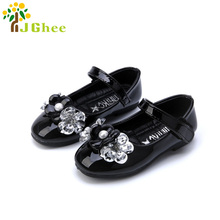 J Ghee 2017 Girls Black Shoes Patent Leather Princess Girls Shoes For Wedding Party Kids Shoes With Rhinestone Flowers Glitter