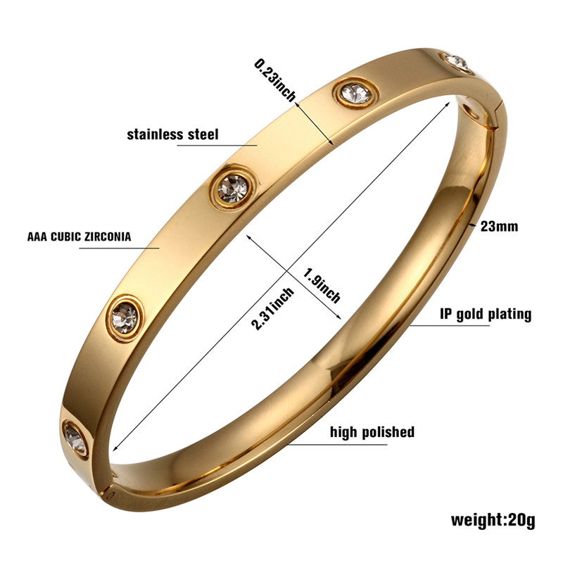 Trendy Rose Gold Love Bracelets Bangles Women Gold Color Stainless Steel Charming CZ Cuff Bracelet Lovers Luxury Brand Jewellery 13