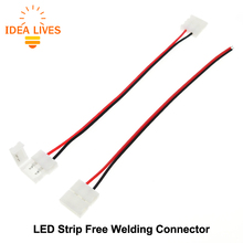 LED Strip Connector 2pin 10mm / 2pin 8mm with Wire Free Welding Connector 5pcs/lot