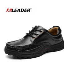 Aleader 2016 Outdoor Casual Shoes Mens Genuine Leather Dress Shoes Autumn Spring Walking Shoes for Men Leather Oxfords male flat(China)