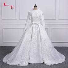 Buy Jark Tozr Long Sleeve Lace China Bridal Gowns Vestidos De Renda Pearls Luxury Muslim Wedding Dresses Detachable Train for $274.30 in AliExpress store