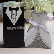 100Pcs Candy Box Bridal Gift Cases Groom Tuxedo Dress Gown Ribbon Wedding Favors Sugar Case Wedding Decoration mariage casamento(China)
