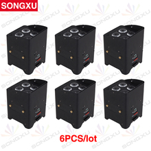 SONGXU 6pcs/lot Wholesale 4X15W 5in1 RGBWA Wireless Battery LED Par Light For DJ Disco Party/SX-WBPL0415(China)