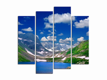 "Oil Painting on Canvas 4pcs about ""Snow Mountain scenery"" Modern style wall pictures cafe bar kids room wall decor LIN4019"