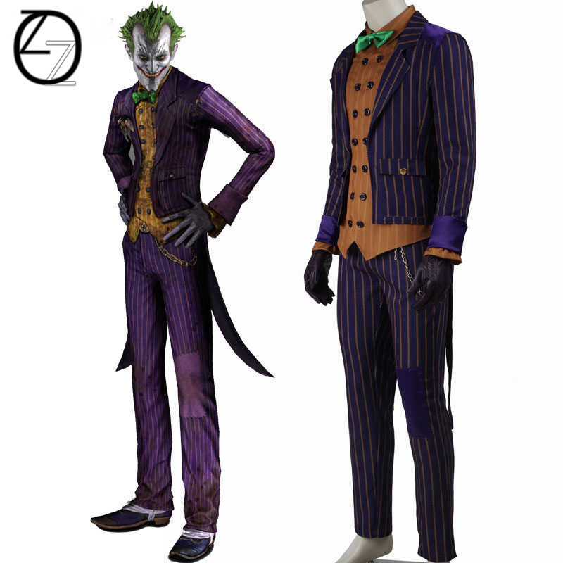High Quality Batman costume Joker costume Batman Arkham Knight Joker cosplay with flower brooch Halloween Cosplay Costume(China)