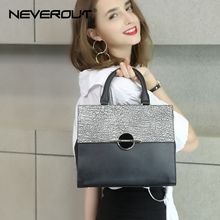 NeverOut Woman Leather Casual Tote Fashion Crocodile and Stone Pattern Business Handbag Zipper Black Color Michael Hors Handbag