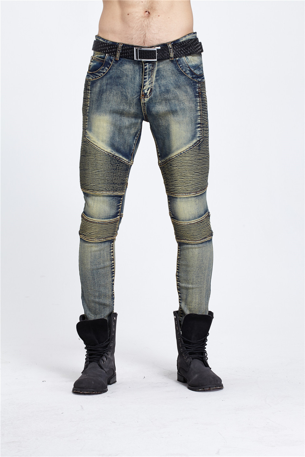 Mens Fashion Casual Classic Washed Pleated Jean Good Quality Slim Fit Moto Skinny Jeans for men blueОдежда и ак�е��уары<br><br><br>Aliexpress