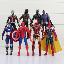 High quality 8pcs/lot 17cm Super Hero Action Figure Toy Doll Hawkeye Captain America Thor Batman Spider Man Batman Toy Figure