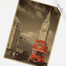 Vintage UK LONDON RED BUS Movie poster wall sticker home decor retro art painting prints picture living room 42x30cm ZJP-M105