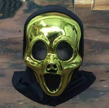 New Mask Halloween Mask Masquerade Cosplay Party Dress Skull Ghost Mask Scary Gold Scream Mask Face Hood For Hot Sale