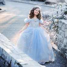 European /American style 2015 Summer baby Girl Cinderella Dress for Party kids clothes Brand Princess Dresses snow Costume Robe