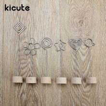 Kicute Romantic Wood Memo Pincer Clip Paper Photo Clip Holder Wooden Small Clamps Stand School Office Supplies Accessories Decor