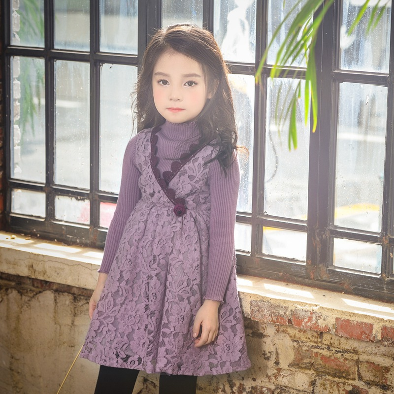Baby Girls new spring autumn children lace flowers dresses kids party tutu dress clothes  1AP410DS-59R<br>