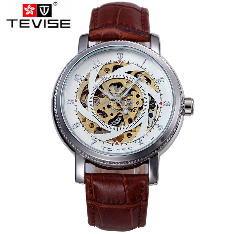 Tevise Relogio Masculino Gear Skull DIal Watch Auto Mechanical Watches Leather Wristwatch Free Ship<br>