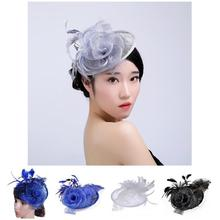 Fashion Women Fascinator Cambric Flower Feather Vintage Ladies Cocktail Hat Wedding Party Bridal Hair Accessories H9(China)