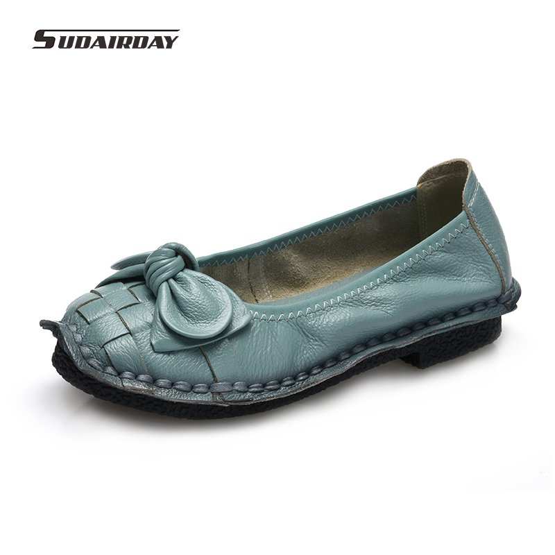 2017 Spring Women Flats Super Soft Genuine Leather Flat Shoes Anti-Slippy Bowtie Shoes Handmade Casual Loafers Women Shoes<br>