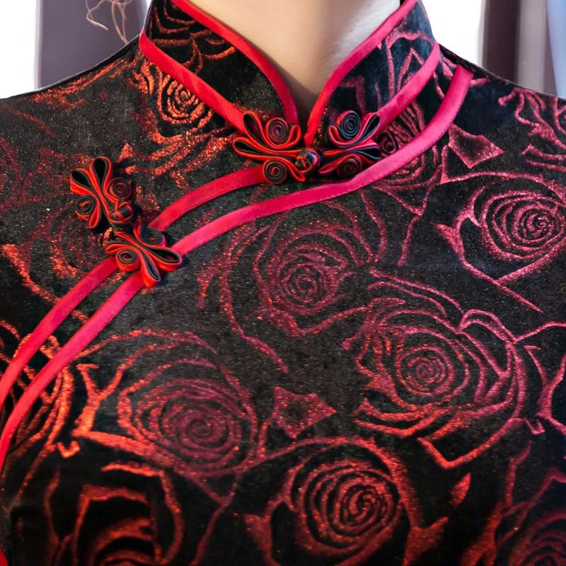 Black-Red Traditional Chinese Dress Women\`s Satin Long Cheongsam Qipao Flower Short Sleeve Chinese Oriental Dresses Size M-4XL (4)
