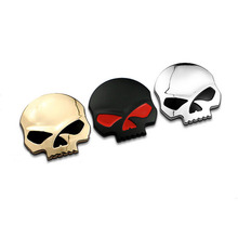 Brand New and High Quality Chrome 3 Colors 3D Skull Bone Car Motor Bike Metal Emblem Badge Decals Sticker(China)
