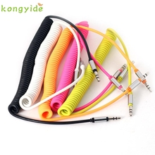 pretty  1pc  3.5 mm Coiled Stereo Audio Cable Car Auxiliary Audio Cable Male To Male Ap21A