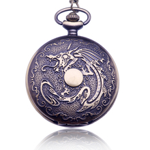 New Bronze Antique Dragon Vintage Pocket Watch pendant necklace Quartz Watch Clock Hours Gift relogio de bolso