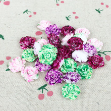 100 Pieces Mix Color Flatback Flat Back Resin Flower Cabochon Kawaii DIY Resin Decoration Craft Making Handmade Accessories:13mm