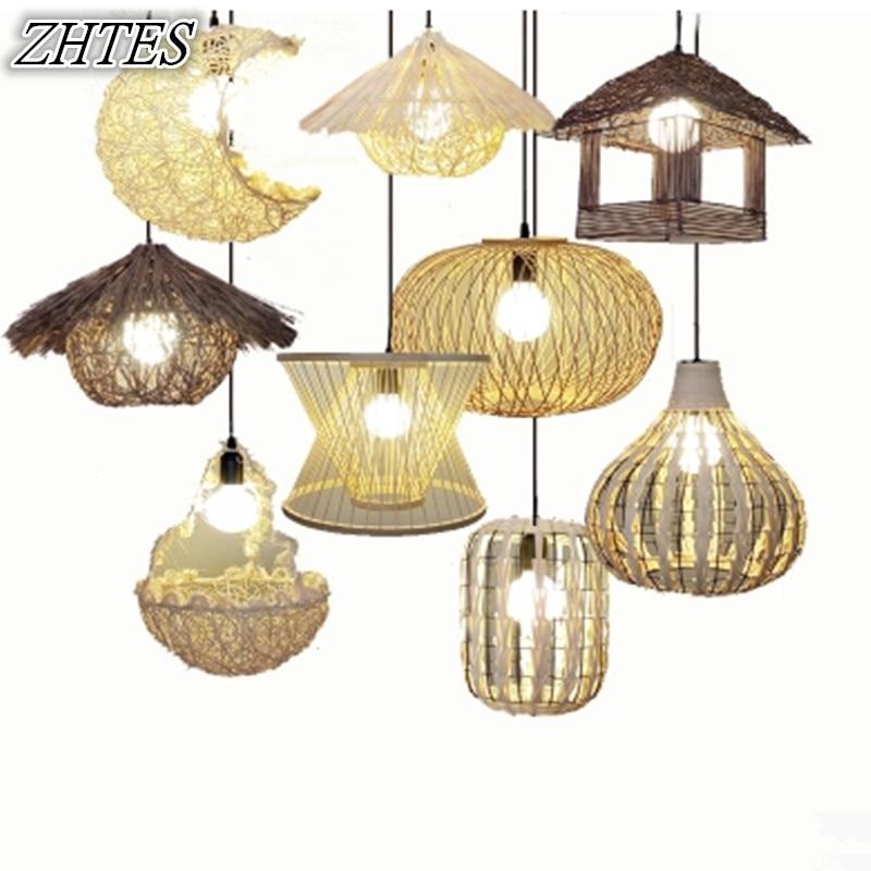 Rattan Pendant Light Pastoral Creative Personalized Living Room Clothing Shop Round Spine Ball Bird Nest Art Lighting<br>