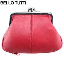 BELLO TUTTI Genuine Leather Mini Coin Purse for Womens Change Purse Sheepskin Kiss Hasp Closure Wallet Girls Small Wallet(China)