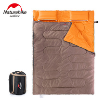 Naturehike Portable Outdoor Camping Hiking Sleeping Bag + Pillow+ Inflator +Carrying Bag 2 People Sleeping Bags 3 Colors