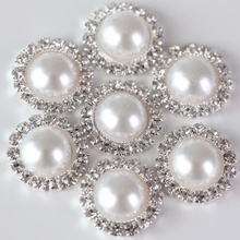 10pcs 15mm Many Colors Resin Half Pearls Round Beads Metal Flatback Buttons For Craft Decorative DIY Buckle B3122