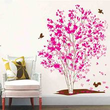 Rose Red Maple Tree Wall Sticker DIY Wall Decorations Living Room Bird Wall Decals Wall Stickers For Kids Rooms(China)