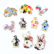 Colorful Enamel Charms 50PCS/Lot Animal Elephant Rabbit Penguin Cock Alloy Jewelry Pendants Gold TOne Oil Drop Floating Charm