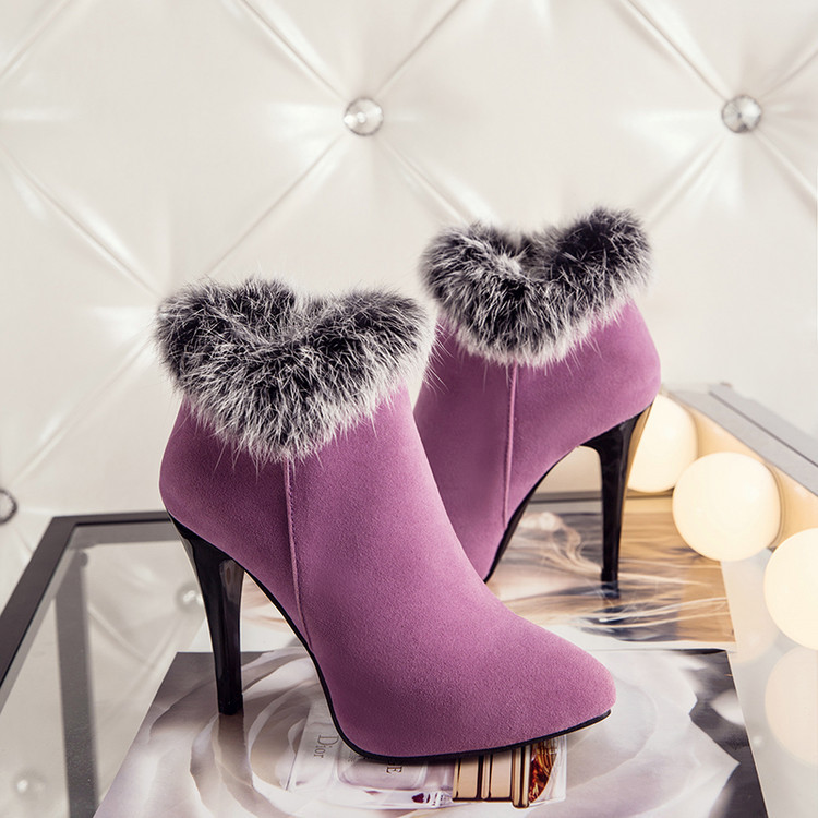 2017 autumn/winter boots female fine with new high-heeled boots Martin pointed high heel boots is rabbit hair for womens shoes<br><br>Aliexpress