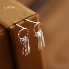 16mm High quality female jewelry 925 Sterling Silver Earrings Korean Retro simple tassel girls circle hollow fringe lovers gift