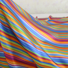 Sold By Meter Charmeuse Poly Gowns Dress Material Colorful Stripe Patterned Satin Fabric Wholesale(China)