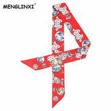 2017 New Design Coin Floral Print Silk Scarf Women Luxury Brand Twillies Handle Bag Ribbons Fashion Head Scarf Small Long Scarve(China)