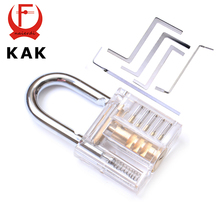 KAK Mini Transparent Visible Pick Cutaway Practice Padlock Lock With Broken Key Remove Hook Extractor Set Locksmith Wrench Tool