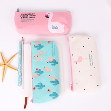 1PC Cute Flamingo Canvas Pencil Cases Stationery Storage Pen Bag Gifts School Office Pencil Bags Lovelty Pencil Pouch(China)