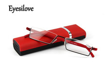 Eyesilove Retail 1pcs TR90 reading glasses go with case for women portable mini presbyopia glasses red color(China)