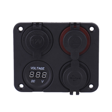 4 Hole Panel Base Dual USB Voltmeter Meter Power Socket Cigarette Lighter Button Switch Car Truck Boat Motorcycle Accessory