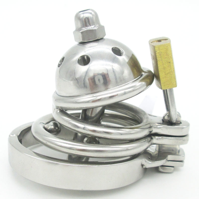 Latest Design Super Small Male Bondage Chastity Device Stainless Steel Short Cock Cage Removable Catheter BDSM Sex toys