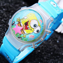 1 Piece Sponge Bob Boy's Waterball LED Flashing Light Watches Children Cartoon Character Kids Digital Wristwatches Hot Sale New(China)