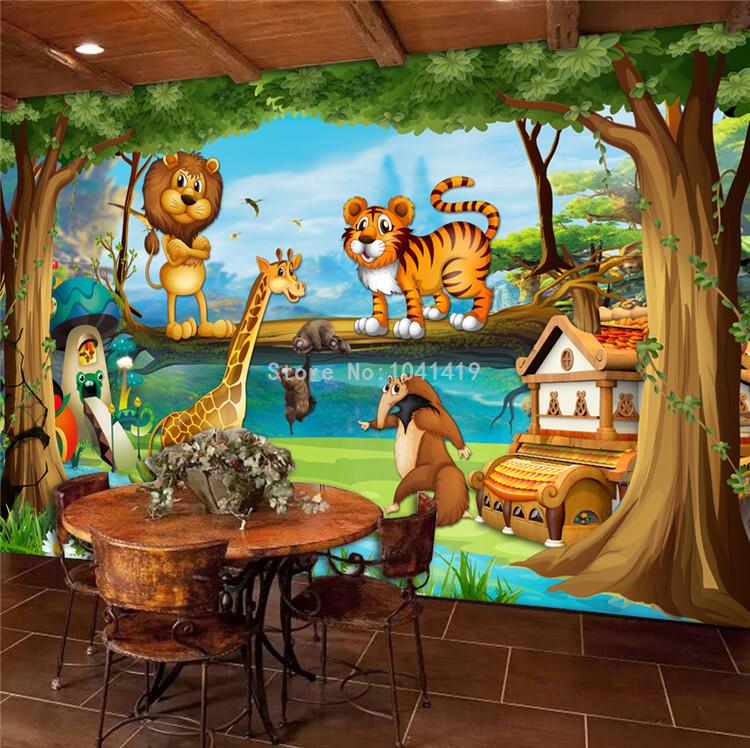 HTB1ALiuRFXXXXa8XpXXq6xXFXXXh - 3D Wall Murals Beautiful Cartoon Forest Animal World Photo Wallpaper For Children Room Papier Peint Enfant Eco-Friendly Frescoes