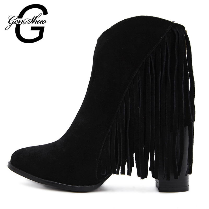 GENSHUO 2017 Fashon Sexy Women Brand Ultra High Heels Boots leather tassel boots Platform Spike Heels Ankle Boots <br>