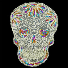 Fashion clothes patch sequins 30cm logo color skull head applique embroidery flower patches for clothing sticker patchwork