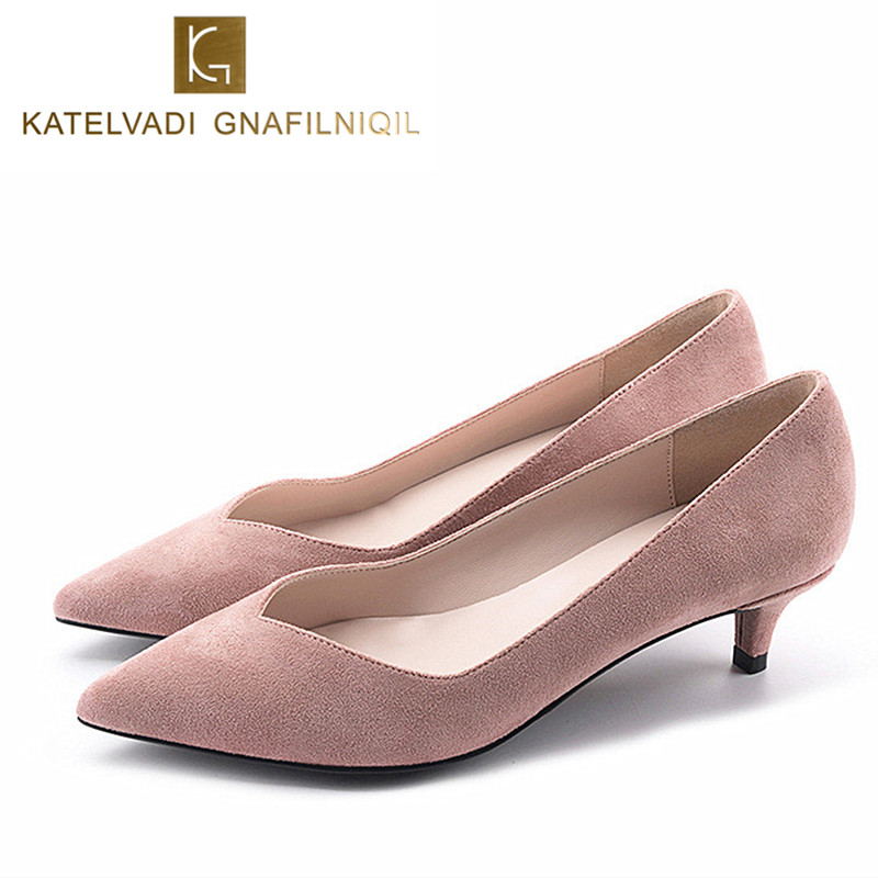 New Work Shoes Woman 4.5CM Med Heels Sexy Office Lady Shoes Fashion Pointed Toe Female Shoes Pink Med Heel Chaussure Femme K-078<br>