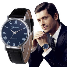Top Brand Luxury Mens watches Retro Design PU Leather Band Analog Alloy business clock  Quartz Wrist Watch relogio masculino